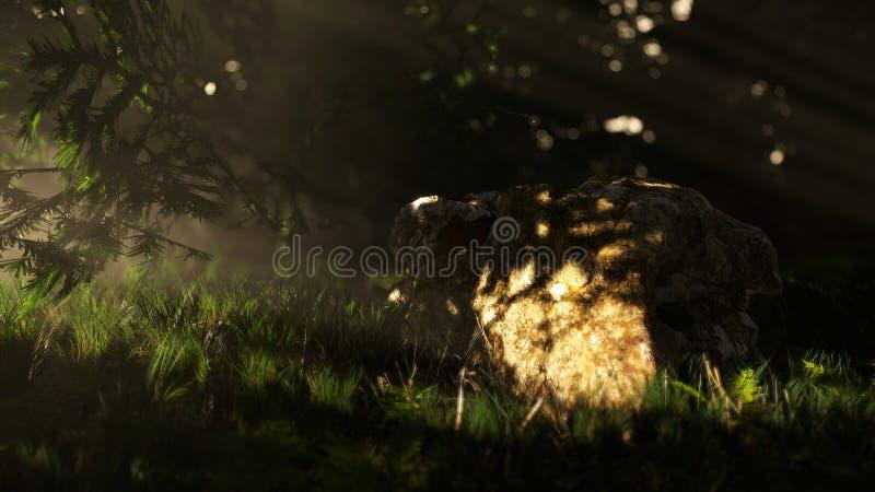 3d scena: skała w lesie zdjęcie stock