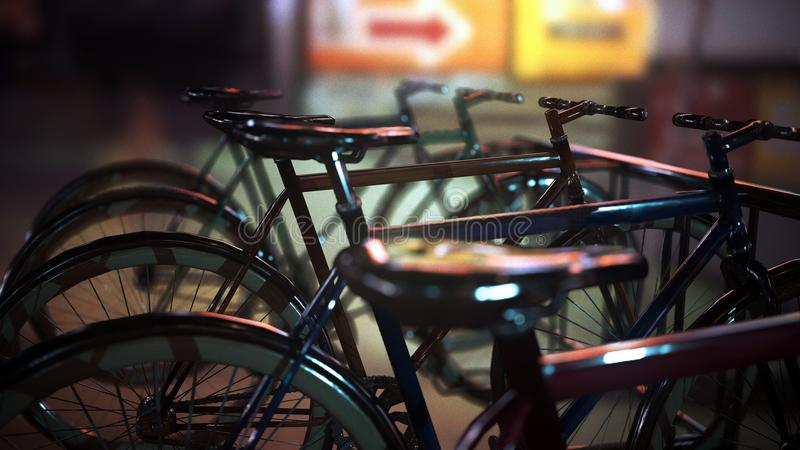 3d scene: parked bicycles on street royalty free stock image