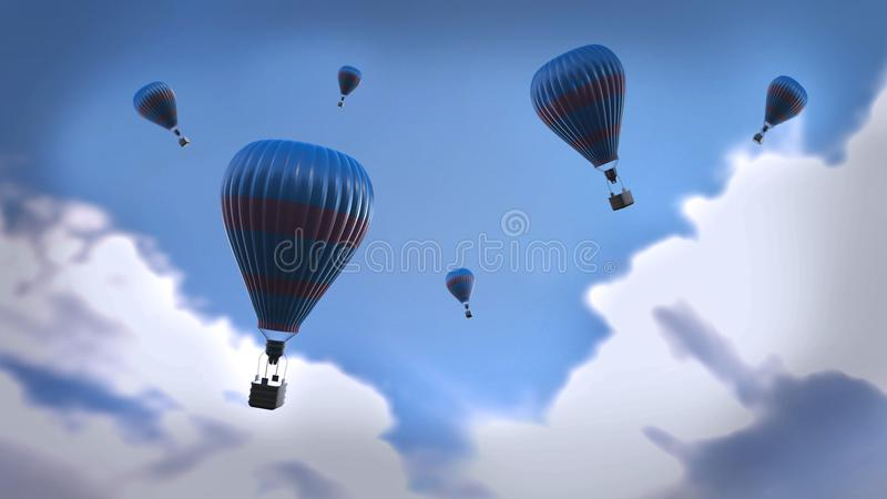 3d scene: blue air balloons stock images