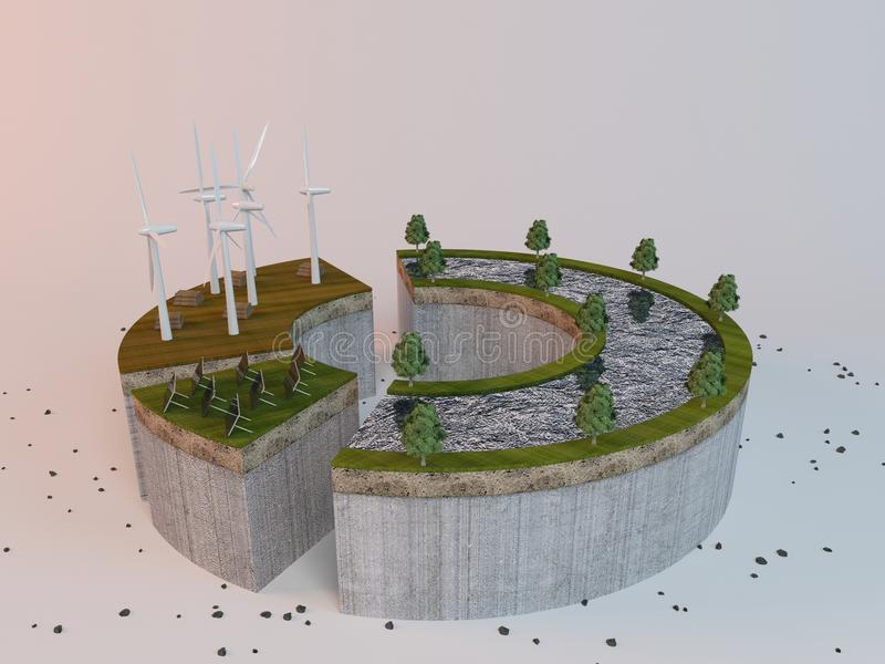 3d scene with divided power saving methodes. 3d rendering industry scene with windmill for power saving on white stock photography