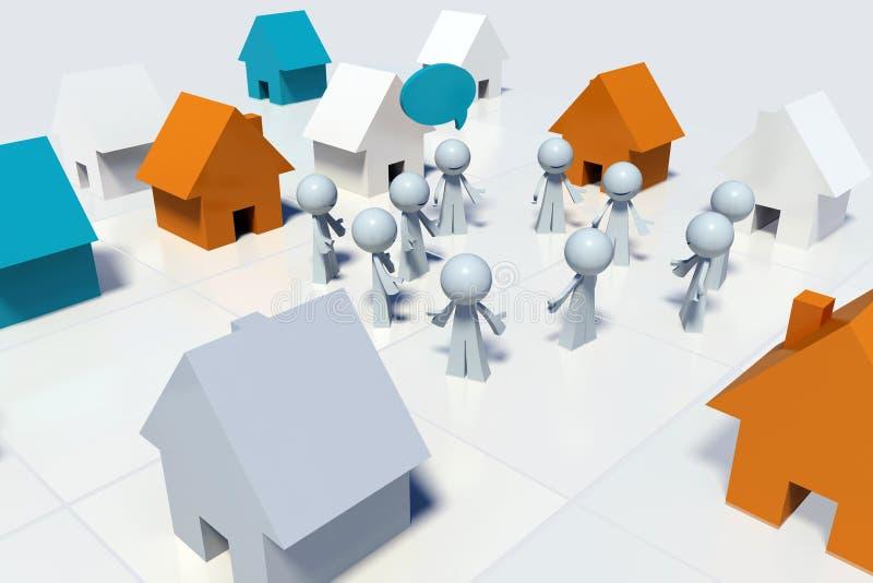 3D scene of neighborhood community gathering stock illustration