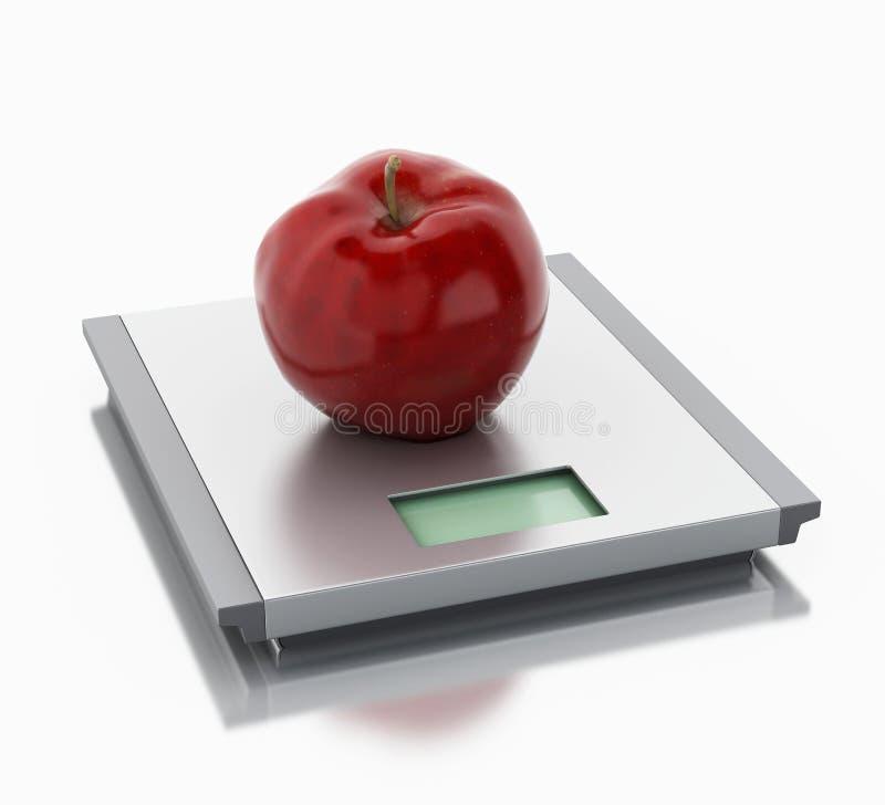 3d Schalen en appel Het concept van het dieet stock illustratie