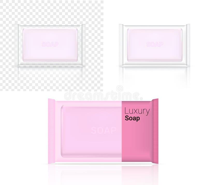 3D Schein herauf realistisches Stück Seifen-kosmetisches transparentes Kissen-Verpackenpapier-Verpackung oder Plastiksatz für die stock abbildung