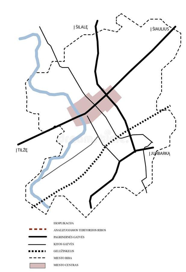 2d schema della mappa della città illustrazione di stock
