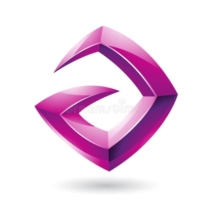 3d Scherp Glanzend Magenta Logo Icon baseerde op Brief A royalty-vrije illustratie