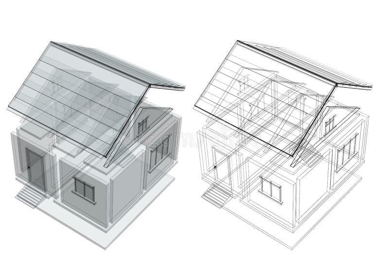 3d schets van een huis stock illustratie