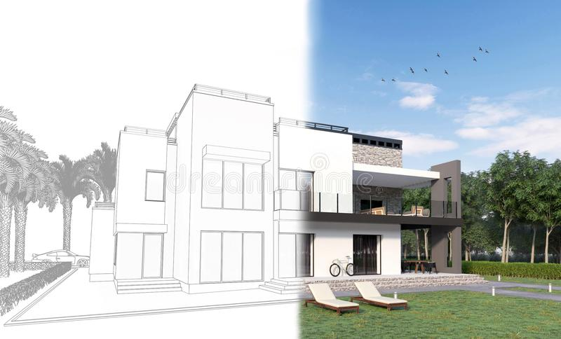 3d schets van een moderne privé huis achtertuin met een terras, gazon, fiets en zonlanterfanters die echt in 3d geeft worden teru royalty-vrije illustratie