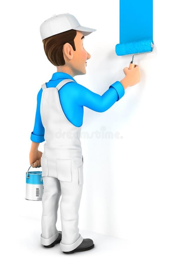 3d schilder het schilderen muur royalty-vrije illustratie