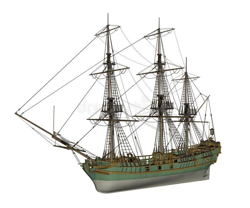 3D schip van de dageraadslaaf - geef terug royalty-vrije illustratie