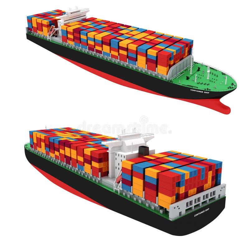 3d schip van de ladingscontainer stock illustratie