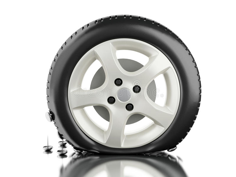 3d schließen oben von der Reifenpanne vektor abbildung