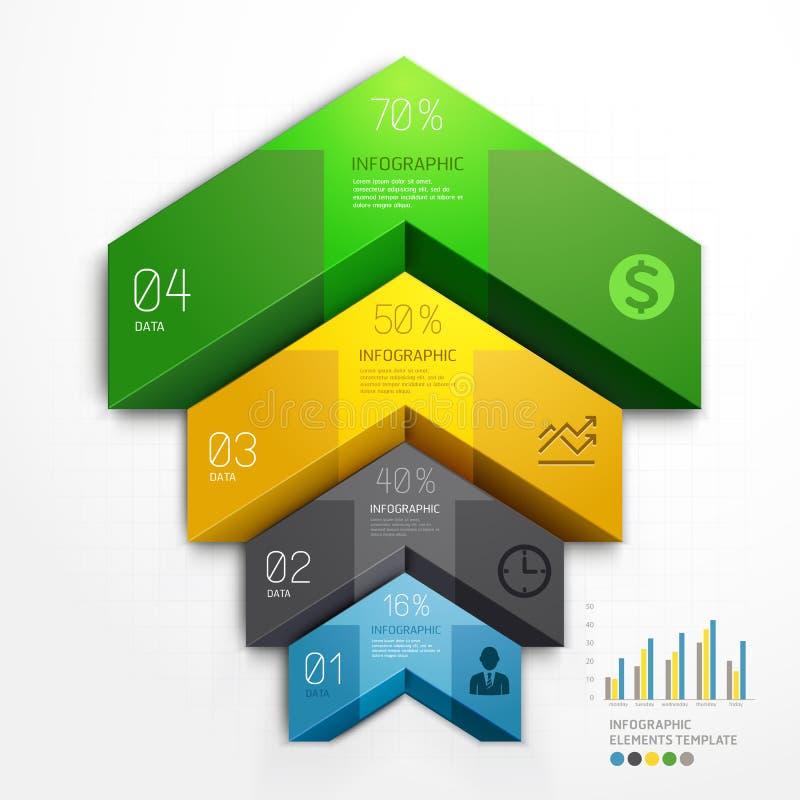 3d schody strzałkowatego diagrama kroka biznesowe opcje. royalty ilustracja