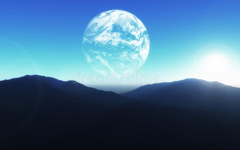 3D science fiction background with planet Earth about mountain l royalty free illustration