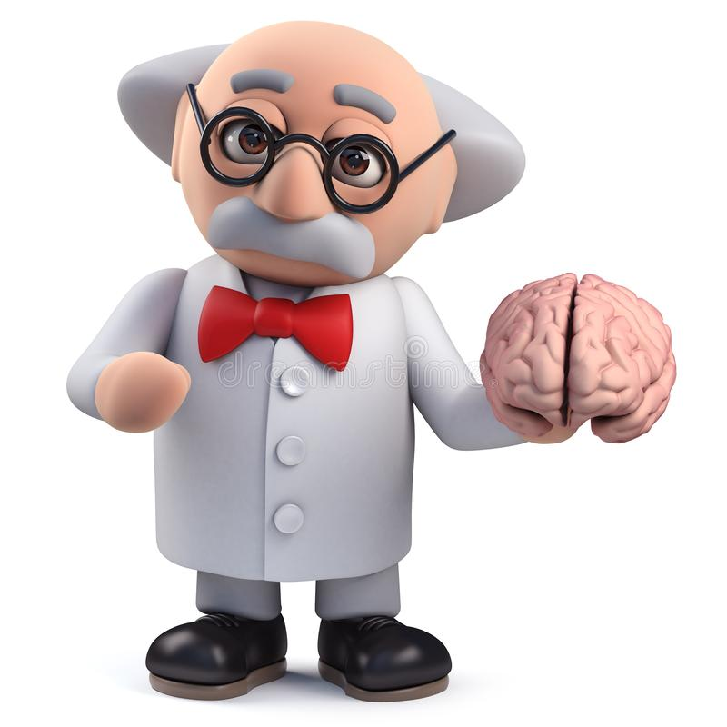 3d Scientist character holding a human brain vector illustration