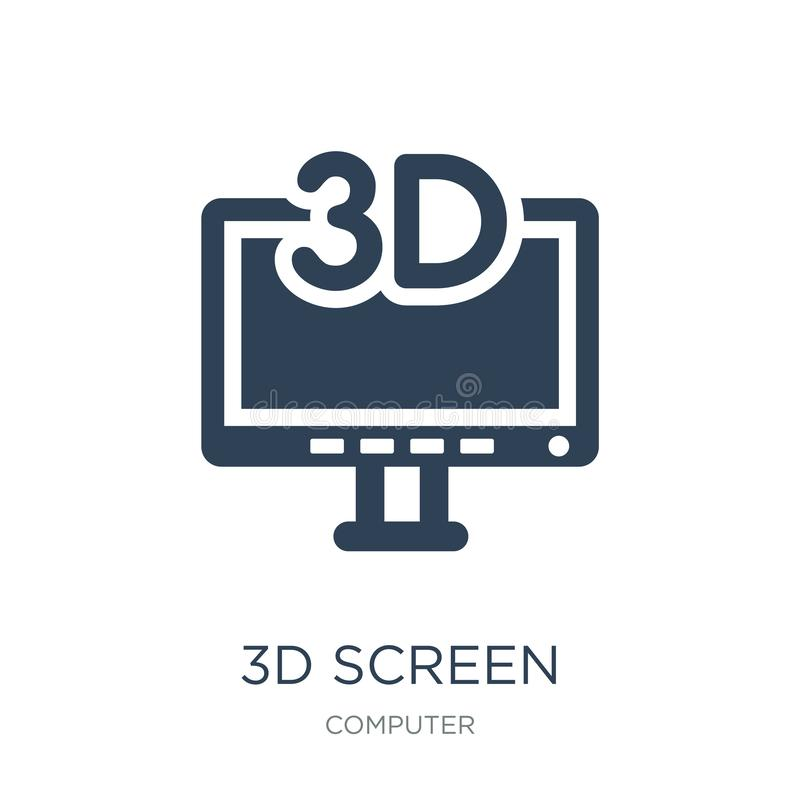3d screen icon in trendy design style. 3d screen icon isolated on white background. 3d screen vector icon simple and modern flat stock illustration