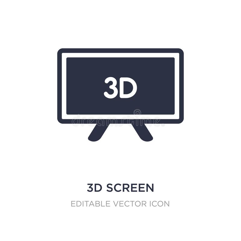 3d screen icon on white background. Simple element illustration from Computer concept vector illustration