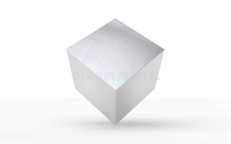 3D se platean, cubo brillante para el diseño gráfico ilustración del vector
