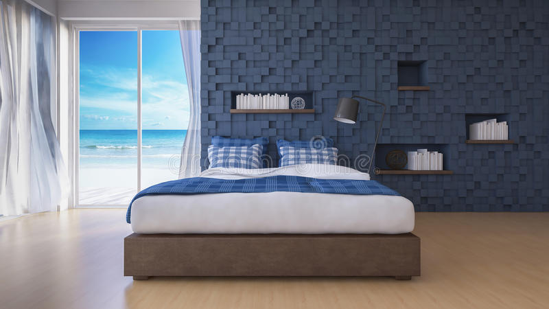 3D seaview bedroom. 3d rendering image of sea view bedroom which have cubic decorated wall as back ground,blue cubic wall and wooden floor, book shelf in the stock images