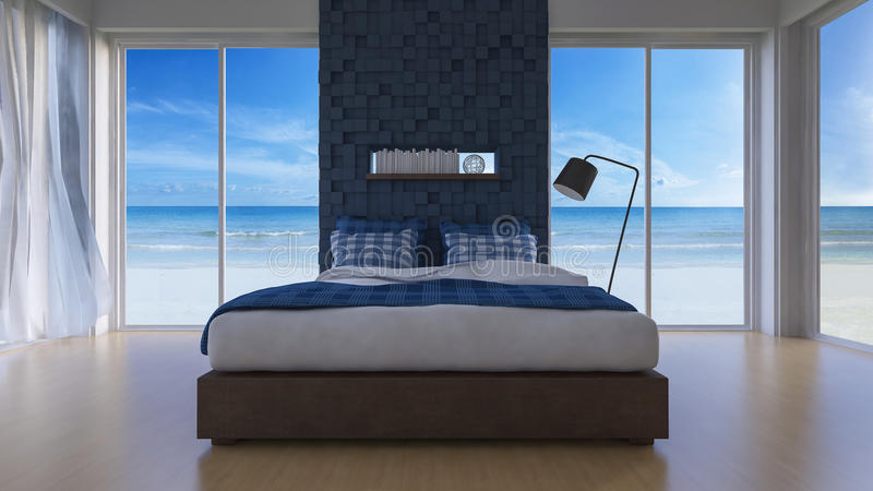 3D seaview bedroom. 3d rendering image of sea view bedroom which have cubic decorated wall as back ground,blue cubic wall and wooden floor, book shelf in the royalty free stock photo