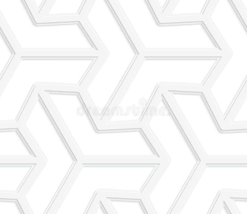 3D sechseckige Sterne des Strahls des Weiß drei vektor abbildung