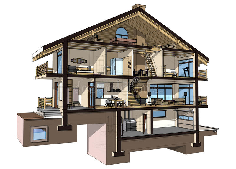 3d Section Of A Country House Stock Illustration ...