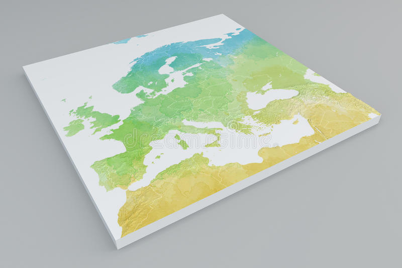 3d Section Map Of Europe, Mediterranean And Middle East Stock ...