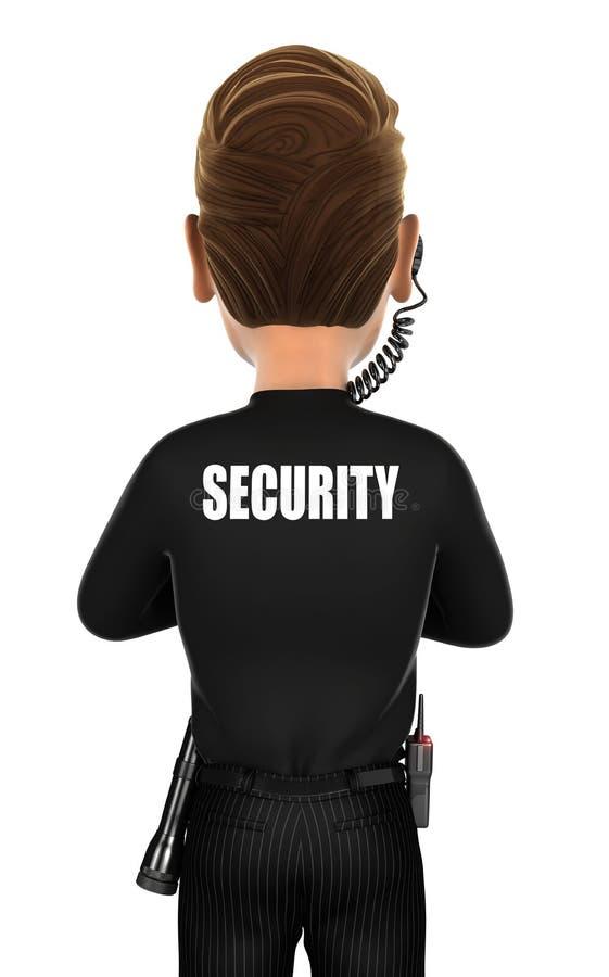 3d security agent back vector illustration