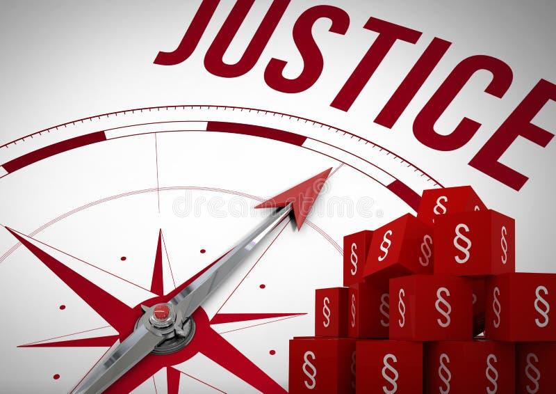 3D sekci symbolu ikony i sprawiedliwość kompas ilustracja wektor