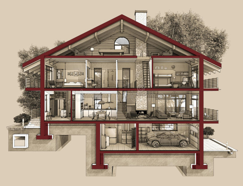3d sekcja dom na wsi royalty ilustracja