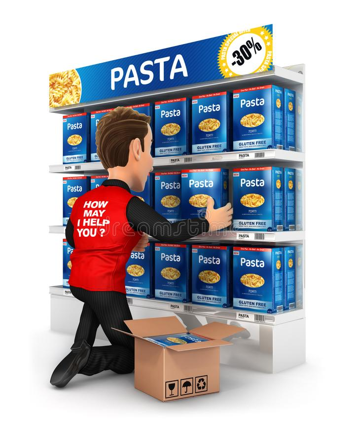 3d seller arranging packs of pasta in supermarket shelve. Illustration with isolated white background royalty free illustration