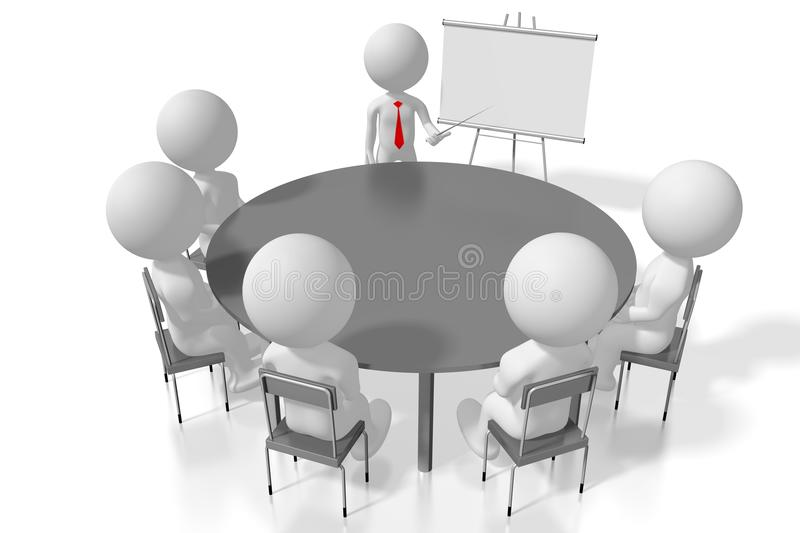 3D seminar/ training/ case study/ conference concept. White cartoon characters royalty free illustration