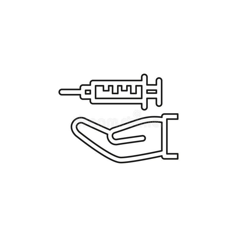 D?sennadel - medizinische Ikone, Spritze an Hand vektor abbildung