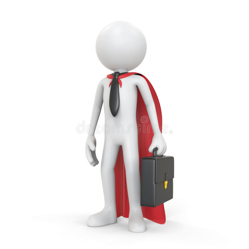 3D ser humano branco - conceito super do bussinessman ilustração royalty free