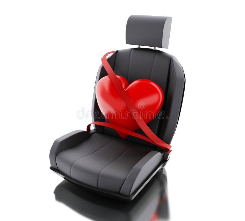 3d serce z auto pasem bezpieczeństwa royalty ilustracja