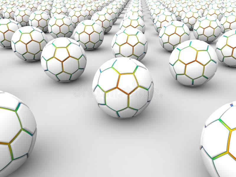 3D serie van voetbalballen royalty-vrije illustratie