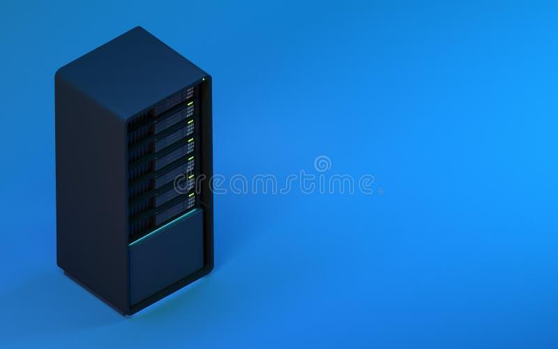 3d server geeft blauwe isometrisch terug vector illustratie