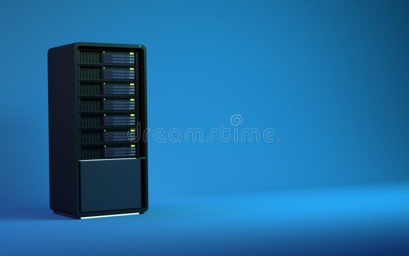 3d servers geven zwart blauw terug vector illustratie