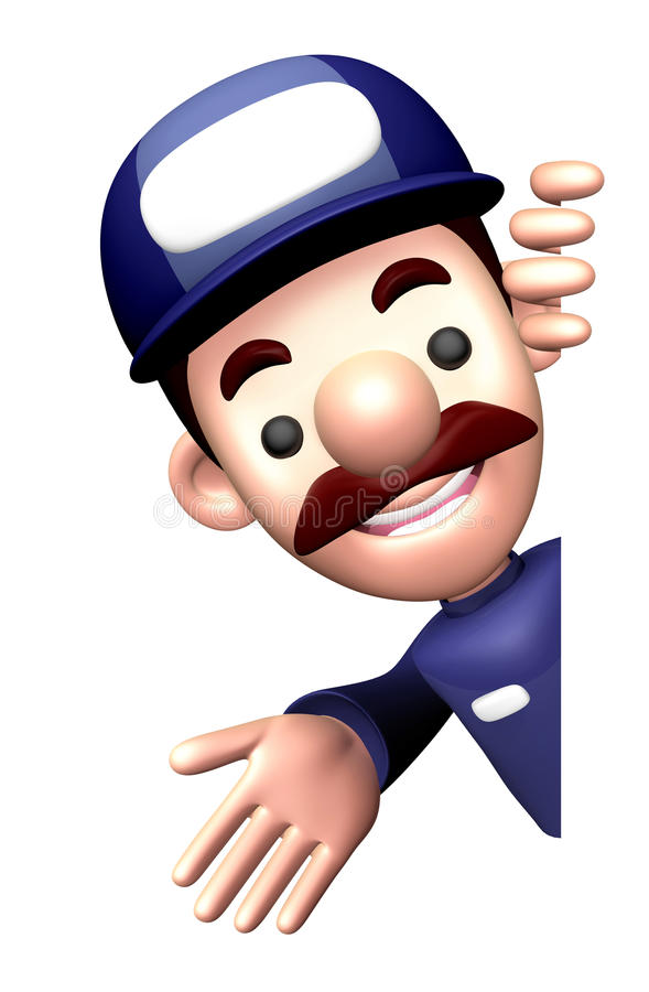 Download 3D Service Man Mascot Suggests The Direction Stock Illustration - Image: 34698421
