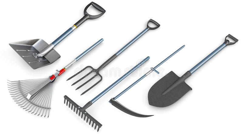 3d set of garden tools. stock illustration