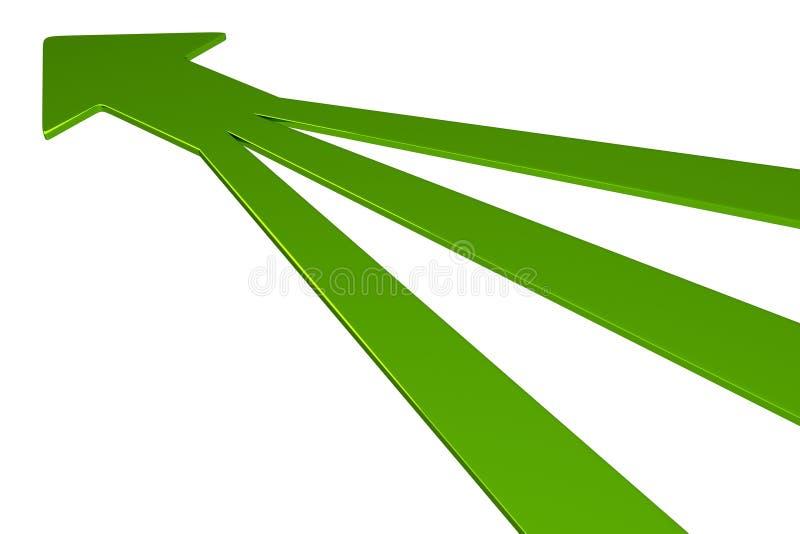 3D setas - verde ilustração do vetor