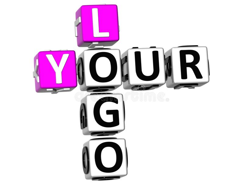 3D seu Logo Crossword ilustração stock
