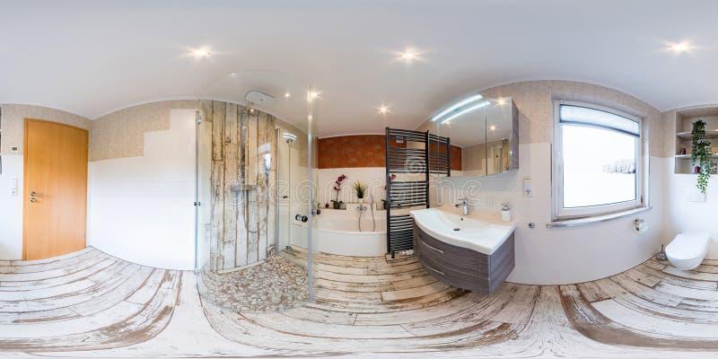 3D sfäriska 360 grader, sömlös panorama av inre tappningstil för badrum arkivfoto