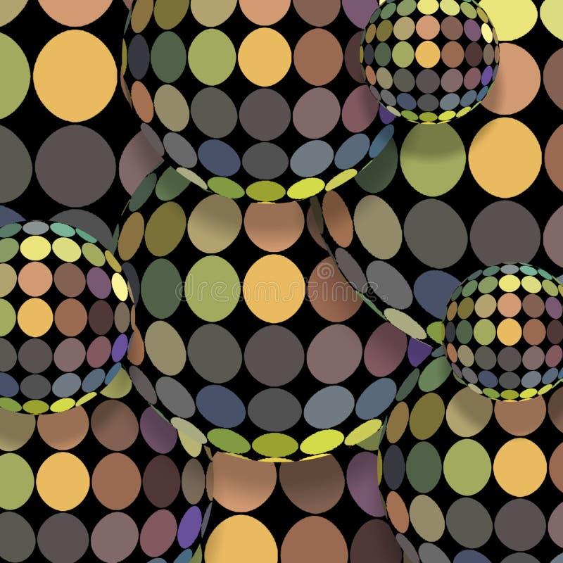 3d sfer holograma mozaiki dekoracja Halftone błękitny żółtej zieleni bez iryzuje kropka wzór Kreatywnie wakacyjny abstrakcjonisty ilustracja wektor