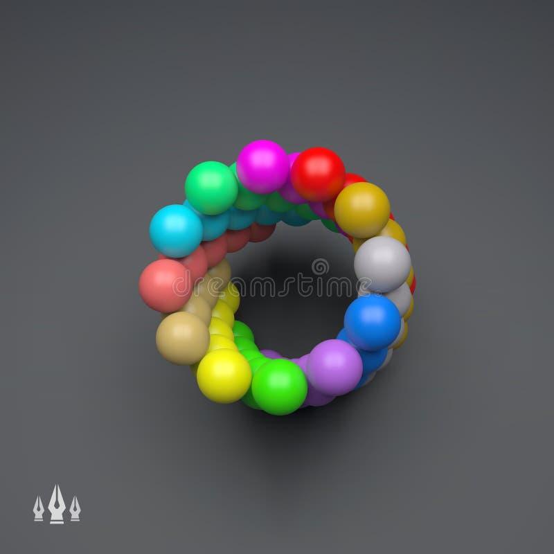3d sfer Kolorowy skład rabatowy bobek opuszczać dębowego faborków szablonu wektor Technologia styl royalty ilustracja