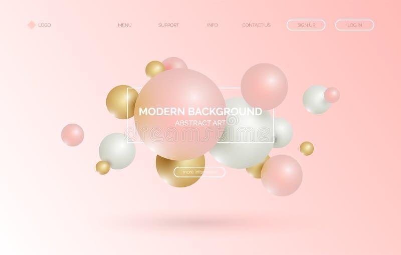 3d sfera, fondo realistico del pallone, insegna per la presentazione, pagina d'atterraggio, sito Web illustrazione vettoriale
