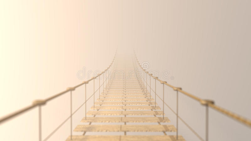 3D sfocato sul ponte di attaccatura che sparisce in nebbia fotografie stock