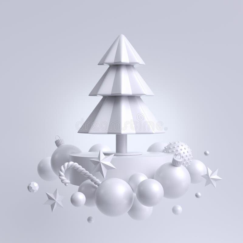 3d sfondo bianco di Natale, abete decorato con ornamenti Decorazione per le vacanze invernali: palle di neve, stelle di carta, ba illustrazione vettoriale