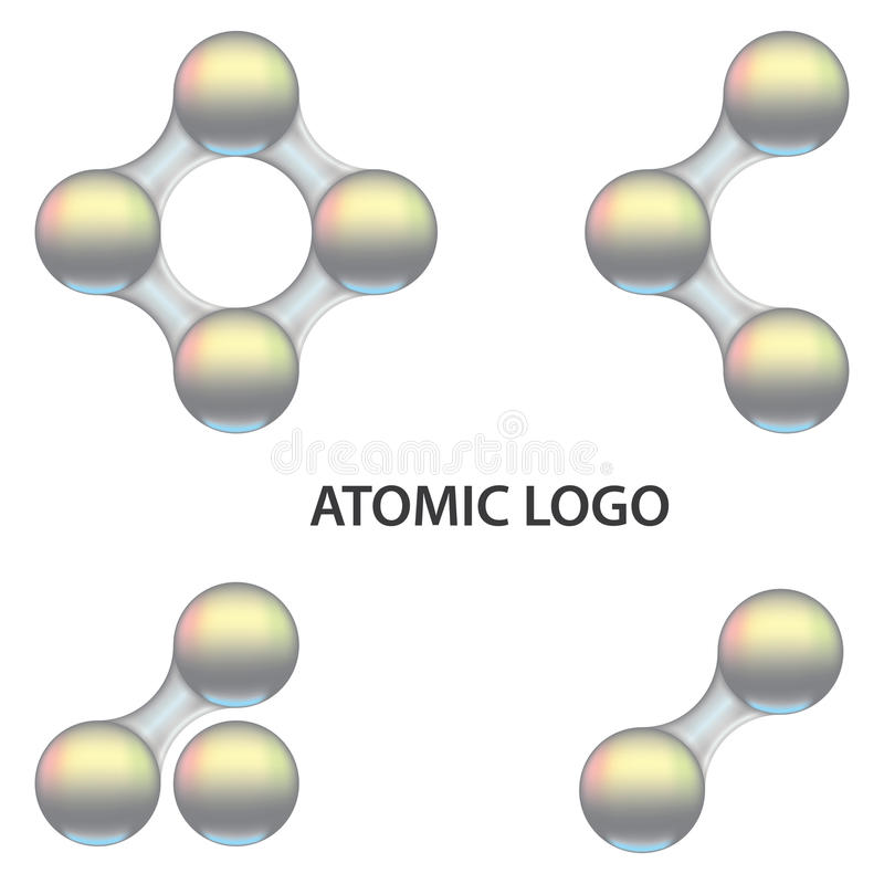 3D sguardo atomico Logo Template illustrazione di stock