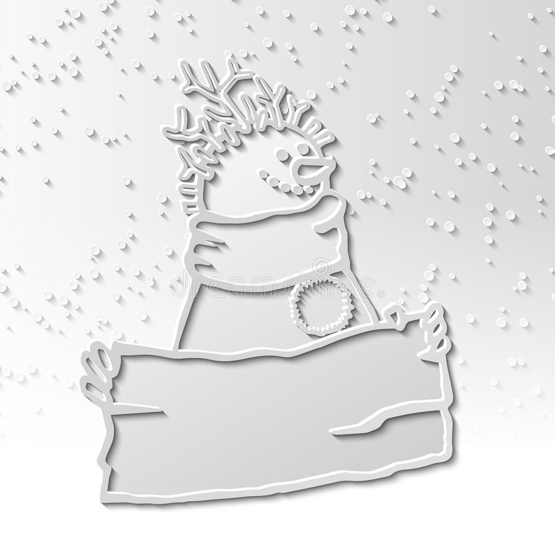 3d shadow snowman with a haircut of twigs with a sign in his hands stock illustration