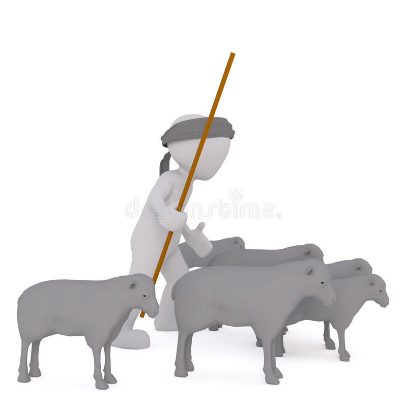 3d shepherd herding his flock of sheep. With a long crook or stick, rendered cartoon illustration on white royalty free illustration